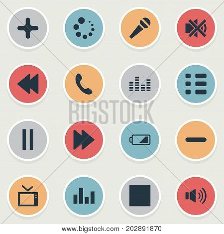 Elements Charge, Playback, Mute And Other Synonyms Megaphone, Recorder And Mute.  Vector Illustration Set Of Simple Sound Icons.