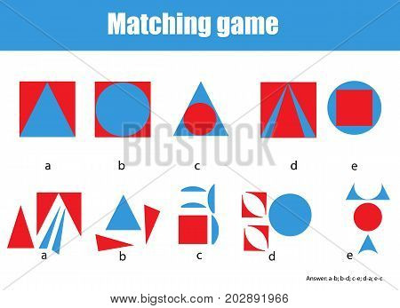 Educational children game. Matching game worksheet for kids. Match by shape. Learning whole and parts