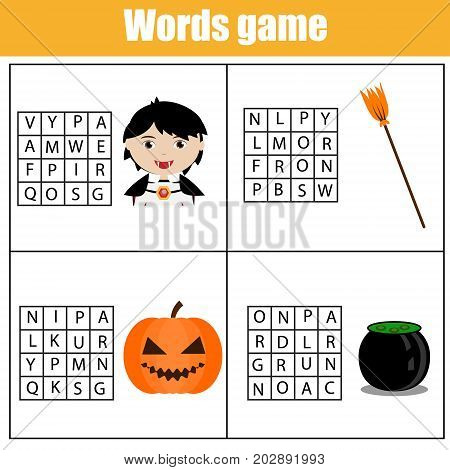 Educational children game. Word search puzzle kids activity. Learning vocabulary. Worksheet for pre school years. Halloween theme