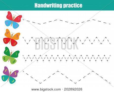 Handwriting practice sheet. Educational children game, printable worksheet for kids. Writing training printable worksheet