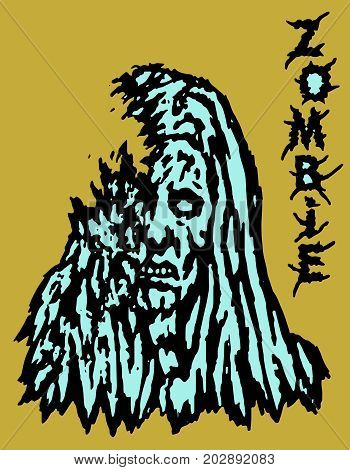 Cruel blue zombie female. Vector illustration. Scary head of woman character. The horror genre. Yellow background.