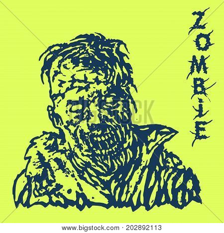 Danger zombie. Vector illustration. Genre of horror. States of mind. Green background.