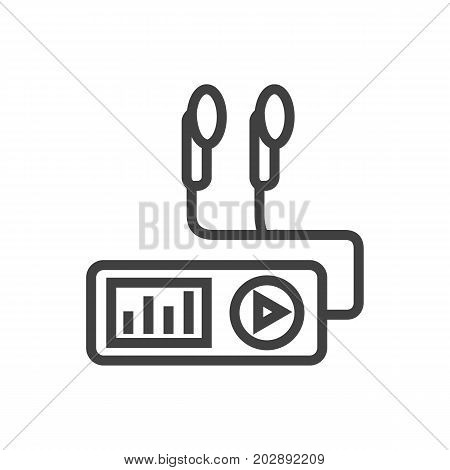 Isolated Audio Player Outline Symbol On Clean Background
