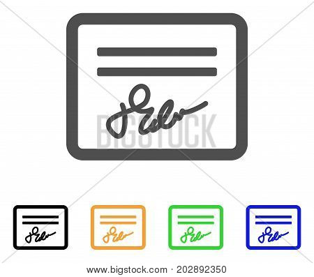 Signed Cheque vector pictograph. Style is a flat graphic symbol in grey, black, yellow, blue, green color variants. Designed for web and mobile apps.