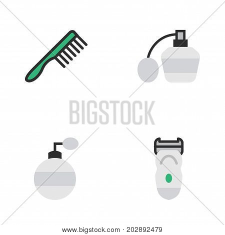 Elements Hairbrush, Electronic, Perfume And Other Synonyms Slavering, Comb And Perfume.  Vector Illustration Set Of Simple Hairdresser Icons.
