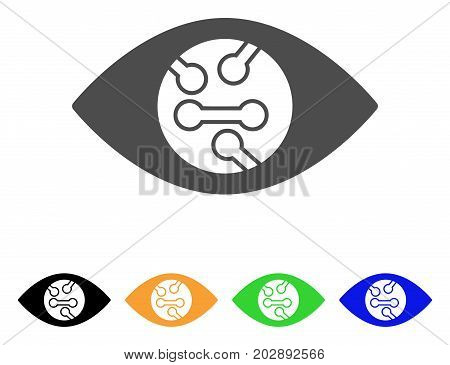 Smart Eye Lens vector pictograph. Style is a flat graphic symbol in grey, black, yellow, blue, green color variants. Designed for web and mobile apps.