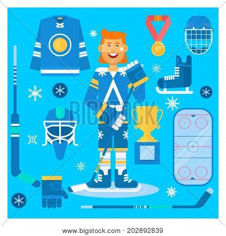Vector Isolated hockey uniform equipment and athlete. Hockey clothes equipment and accessories. Flat vector illustration