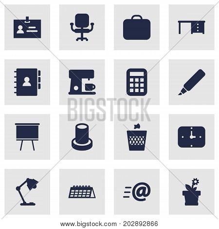Collection Of Airchair, Calculate, Label And Other Elements.  Set Of 16 Office Icons Set.