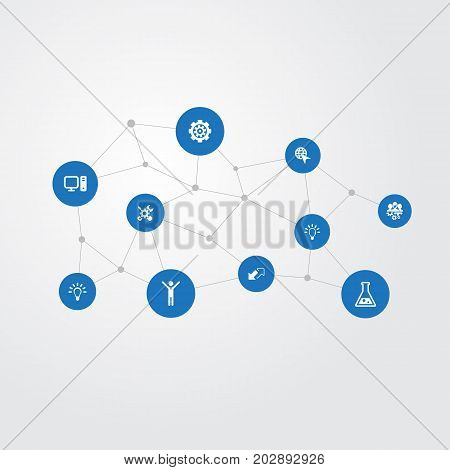 Elements Widen, Male, Mechanism And Other Synonyms Renovation, Bulb And Flask.  Vector Illustration Set Of Simple Innovation Icons.