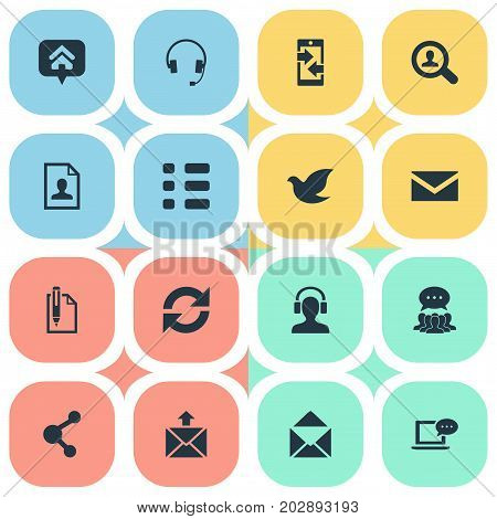 Elements Freedom Pigeon, Task, Postage And Other Synonyms Comment, Postage And Earmuff.  Vector Illustration Set Of Simple Communication Icons.