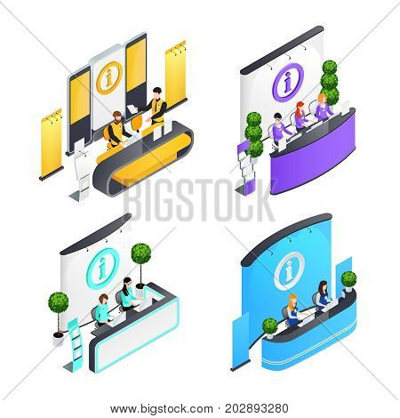 Information desks isometric compositions with people and  computers banners and racks signage interior elements isolated vector illustration