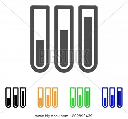Test Tubes vector icon. Style is a flat graphic symbol in grey, black, yellow, blue, green color variants. Designed for web and mobile apps.