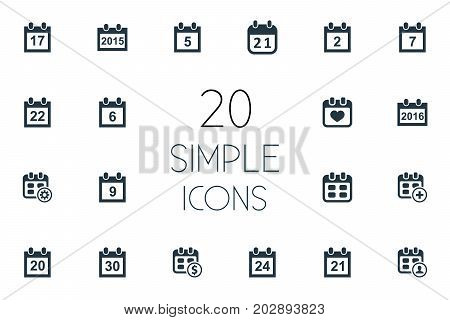 Elements Addition, Twenty-One, Seventeen And Other Synonyms Twentieth, Organizer And Event.  Vector Illustration Set Of Simple Plan Icons.