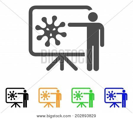 Virus Presentation Board vector pictograph. Style is a flat graphic symbol in gray, black, yellow, blue, green color variants. Designed for web and mobile apps.