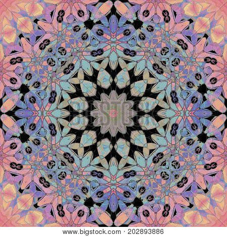 Abstract geometric background centered. Regular round floral ornament pink, violet, purple, turquoise and black, ornate and dreamy.