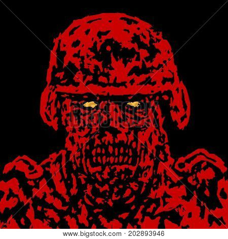 Red angry zombie soldier cover. Vector illustration. Black and white colors. Genre of horror. Scary monster face. States of mind.