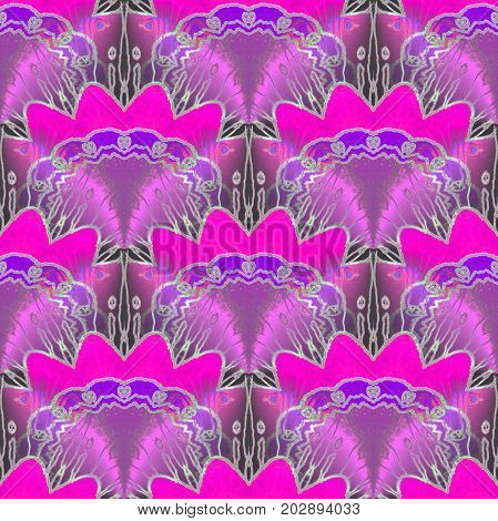 Abstract geometric seamless background. Regular delicate drawing violet, magenta and purple with outlines silver gray.