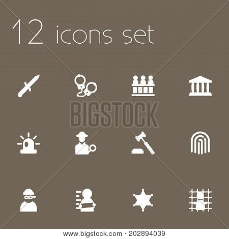 Collection Of Suspicious, Judge Gavel, Manacles And Other Elements.  Set Of 12 Criminal Icons Set.