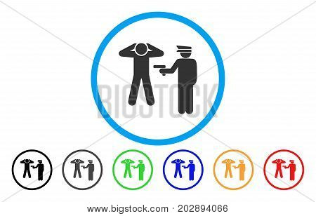 Arrest rounded icon. Vector illustration style is a grey flat iconic arrest symbol inside a circle. Additional color variants are black, grey, green, blue, red, orange.