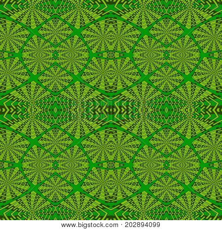 Abstract geometric background. Regular intricate squares pattern in green shades.