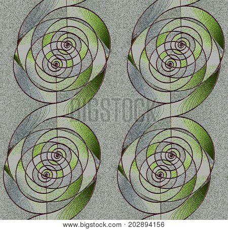 Abstract geometric background. Regular spirals pattern silver gray and green with dark brown outlines vertically.