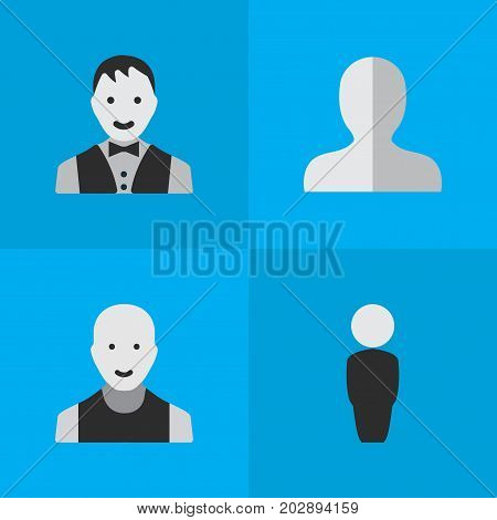 Elements Profile, Person, Man And Other Synonyms Profile, Boy And Male.  Vector Illustration Set Of Simple Person Icons.