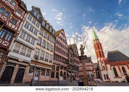 Frankfurt city skyline at Romer (Frankfurt City Hall), Frankfurt, Germany