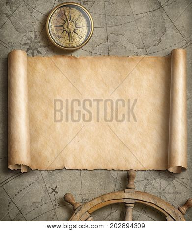 Old map background with compass. Adventure or discovery concept 3d illustration