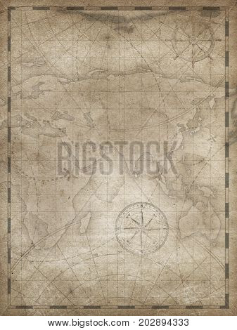 Old treasure map vertical illustration background