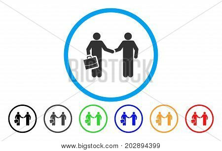 Contract Handshake Meeting rounded icon. Vector illustration style is a gray flat iconic contract handshake meeting symbol inside a circle. Additional color versions are black, gray, green, blue, red,