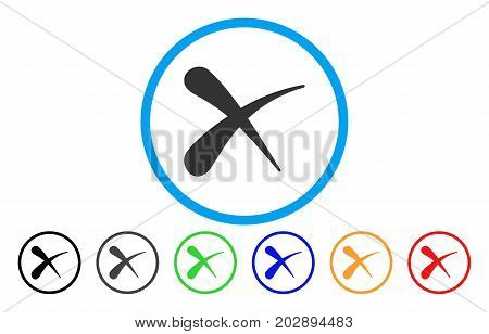 Erase rounded icon. Vector illustration style is a gray flat iconic erase symbol inside a circle. Additional color variants are black, gray, green, blue, red, orange.