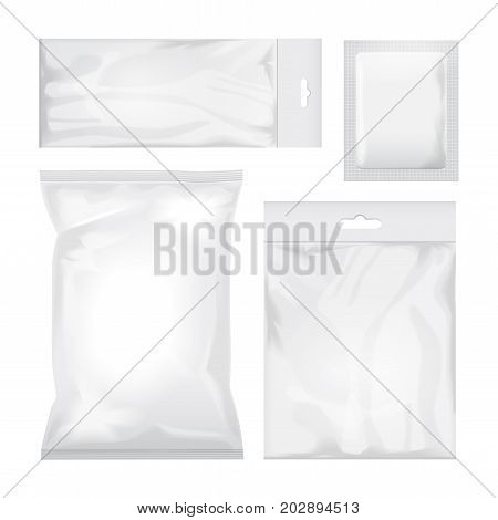 Set of blank white and transparent foil bag packaging for food, snack, coffee, cocoa, sweets, crackers, chips, nuts, sugar. Vector plastic pack mock up for your design