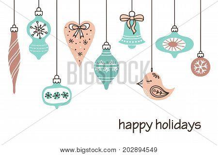 Stylized Christmas decorations set. Vintage winter holidays background
