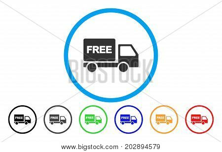 Free Delivery Car rounded icon. Vector illustration style is a gray flat iconic free delivery car symbol inside a circle. Additional color variants are black, grey, green, blue, red, orange.
