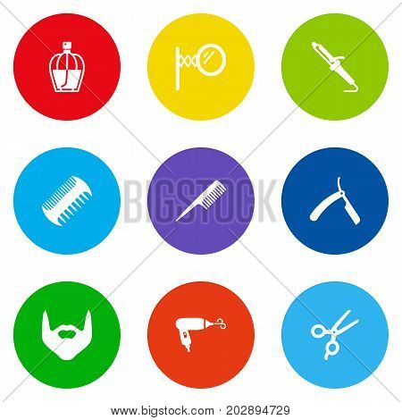 Collection Of Blade, Hairstylist, Hipster And Other Elements.  Set Of 9 Barber Icons Set.