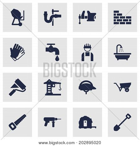 Collection Of Hacksaw, Clamp, Building Machinery And Other Elements.  Set Of 16 Work Icons Set.