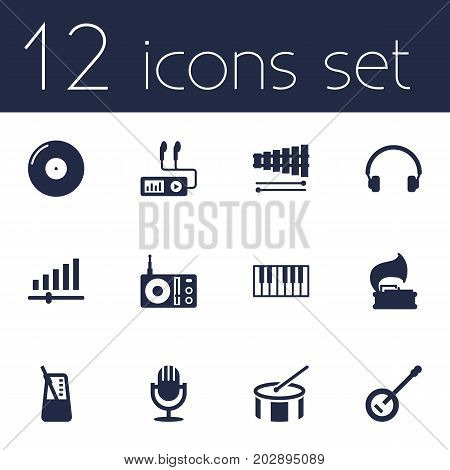 Collection Of Radio, Banjo, Retro Disc And Other Elements.  Set Of 12 Melody Icons Set.