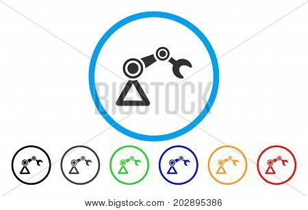 Robotics Manipulator rounded icon. Vector illustration style is a grey flat iconic robotics manipulator symbol inside a circle. Additional color versions are black, gray, green, blue, red, orange.