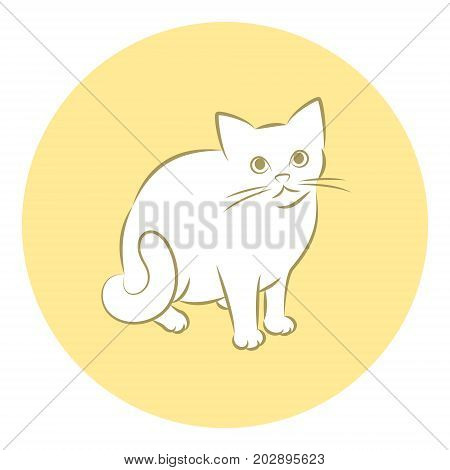 Line Art Vector Illustration of A House Cat Sitting Down