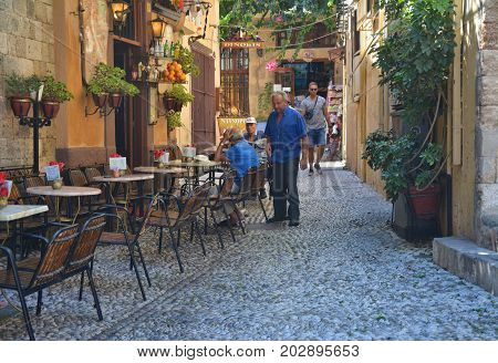 Outdoor Cafe On The Street In Rhodes