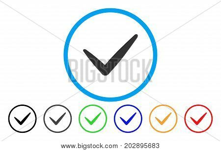 Valid rounded icon. Vector illustration style is a grey flat iconic valid symbol inside a circle. Additional color variants are black, gray, green, blue, red, orange.