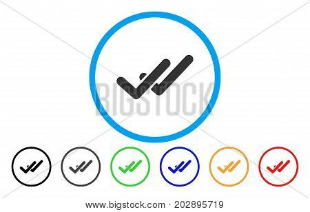 Validation rounded icon. Vector illustration style is a grey flat iconic validation symbol inside a circle. Additional color variants are black, gray, green, blue, red, orange.