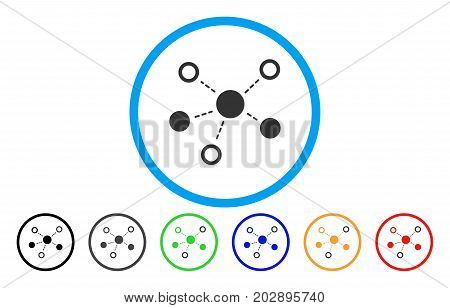 Virtual Links rounded icon. Vector illustration style is a gray flat iconic virtual links symbol inside a circle. Additional color versions are black, grey, green, blue, red, orange.