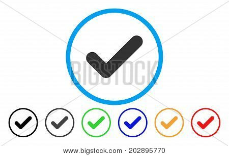 Yes rounded icon. Vector illustration style is a grey flat iconic yes symbol inside a circle. Additional color variants are black, grey, green, blue, red, orange.