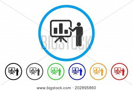 Bar Chart Presentation rounded icon. Vector illustration style is a grey flat iconic bar chart presentation symbol inside a circle. Additional color variants are black, grey, green, blue, red, orange.