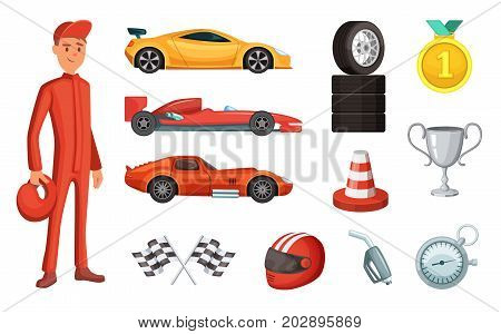 Sport cars and different racing icons set. Engine, helmet, motor and other formula symbols. Sport race competition formula vector illustration