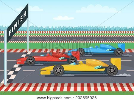 Race cars on finish line. Sport background illustration. Car speed winner, checkered finishing line vector