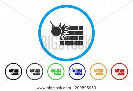 Brick Wall Destruction rounded icon. Vector illustration style is a grey flat iconic brick wall destruction symbol inside a circle. Additional color variants are black, gray, green, blue, red, orange.