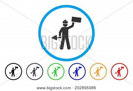 Brickwork Builder rounded icon. Vector illustration style is a gray flat iconic brickwork builder symbol inside a circle. Additional color versions are black, gray, green, blue, red, orange.