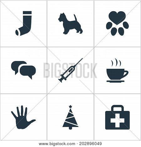 Elements Footprint, Hot Drink, Hosiery And Other Synonyms Coffee, Case And Holiday.  Vector Illustration Set Of Simple House Icons.